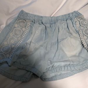 blue with white lace target shorts
